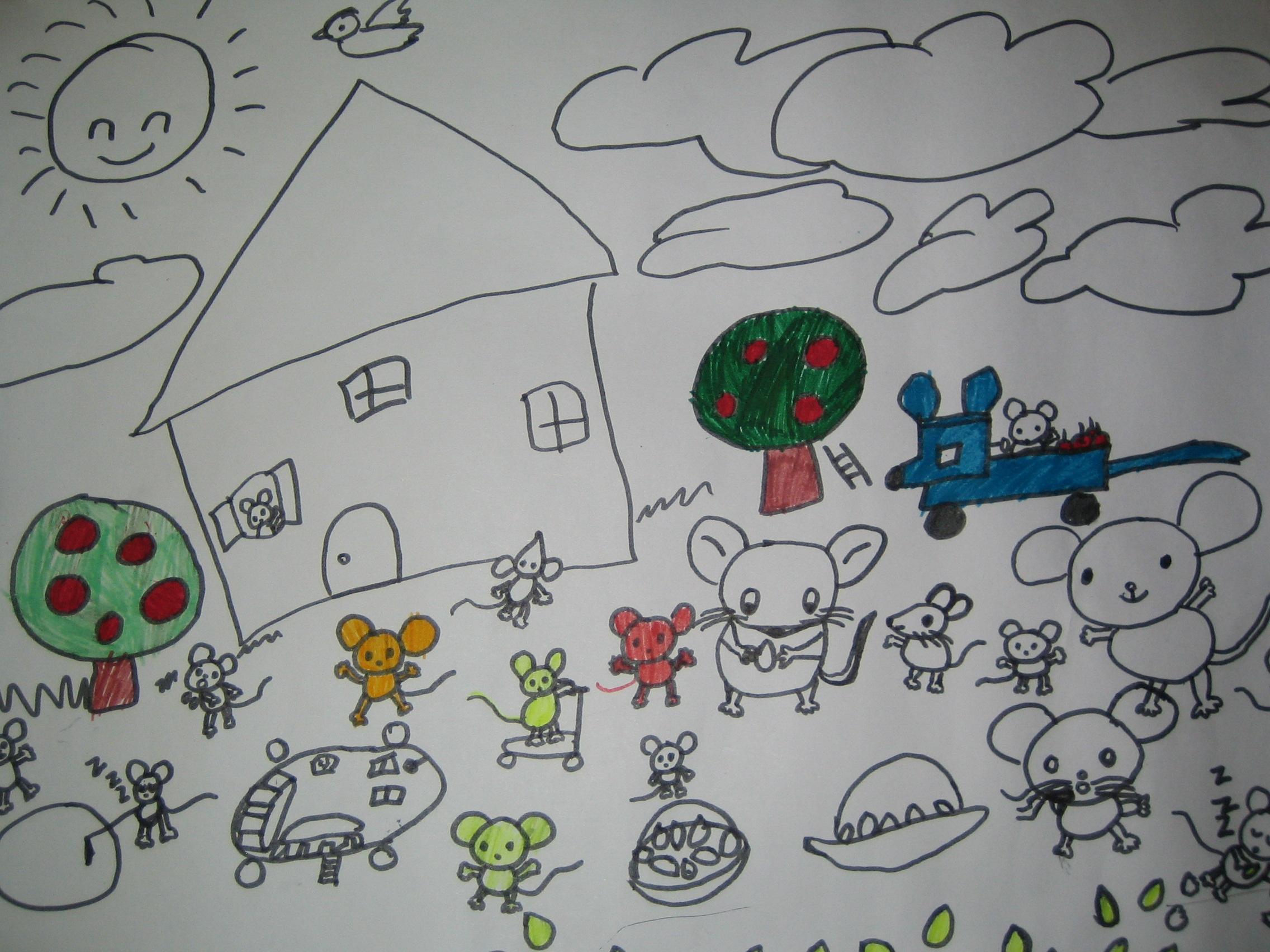 6岁孩子的绘画作品:《老鼠的家园》图片