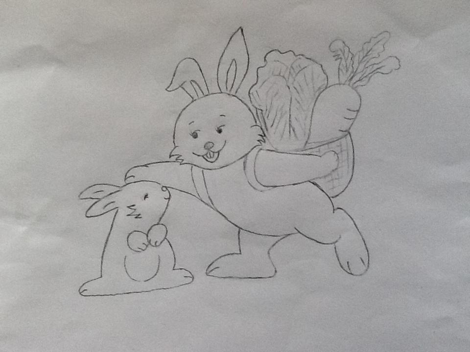 小白兔的家简笔画