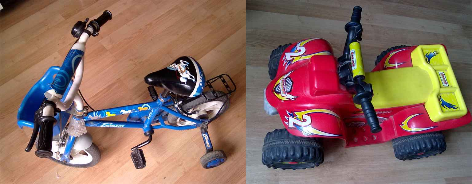 转让哈比儿童自行车和四轮玩具车.