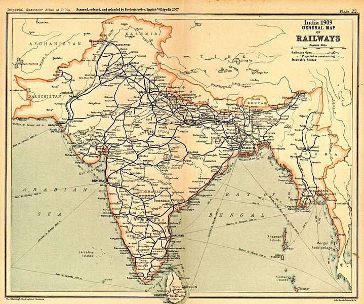 印度铁路网地图