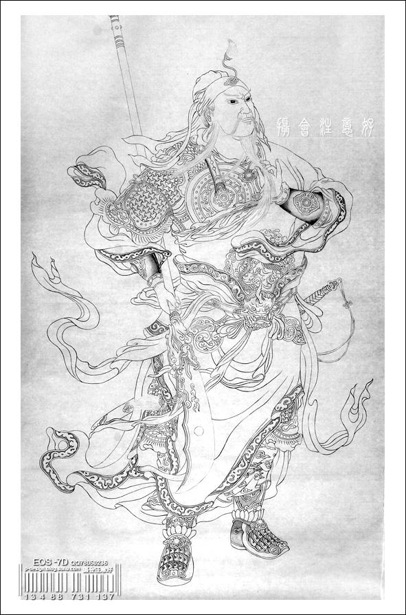 关公盘龙纹身手稿分享展示