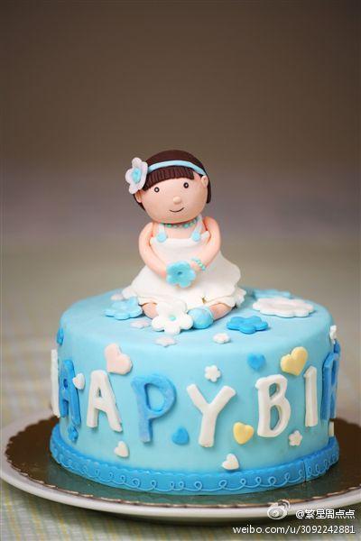 我的新作品:翻糖蛋糕——可爱小女孩