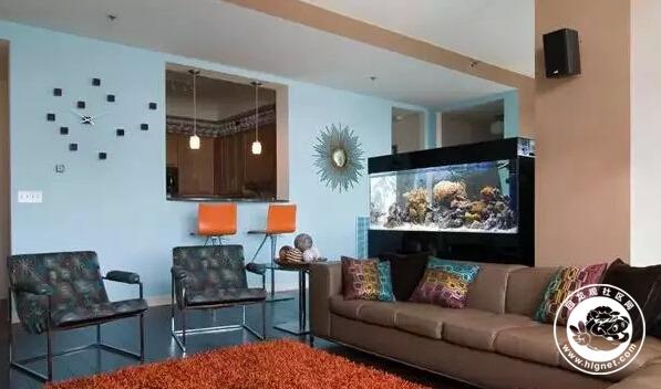 可爱又迷人的长鱼缸使客厅时而简单时而复杂