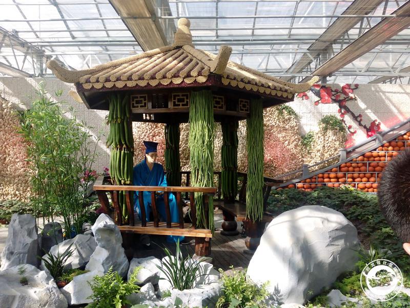 2015年3月21日,我们一家人驱车直奔昌平兴寿镇肖村草莓博览园农业嘉年华的所在地。最先映入眼帘的是一只火红的硕大的草莓雕塑,之后我们停好车,来到了农业嘉年华的广场。那里用农作物摆成了的各种造型,真是又看好又新奇,非常有创意。 最有特色的就是农业创意馆了。馆里有立体种植的展示,还有各种农作物做成的装饰、雕塑。比如用丝瓜和豇豆装饰的凉亭柱子、姜山、南瓜桥、圆白菜树、花生蘑菇等等。农作物品种也很多,很多已经很难见到的如甜菜、很多不知名的菜、还有一种叫做幽幽的野生小果,原来学名叫做龙葵。总之,仔细看看,还是能