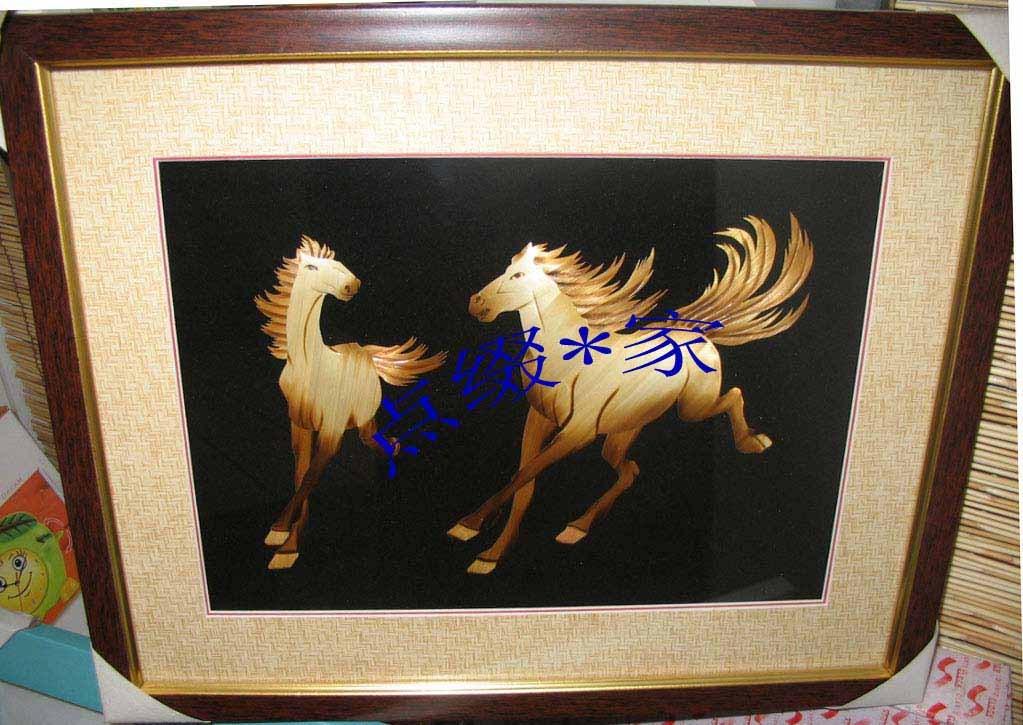 芦苇制造-纯手工环保装饰画一对情侣奔马