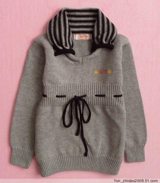 七:迪士尼原单/女宝宝和尚领绣花纯棉线开衫毛衣
