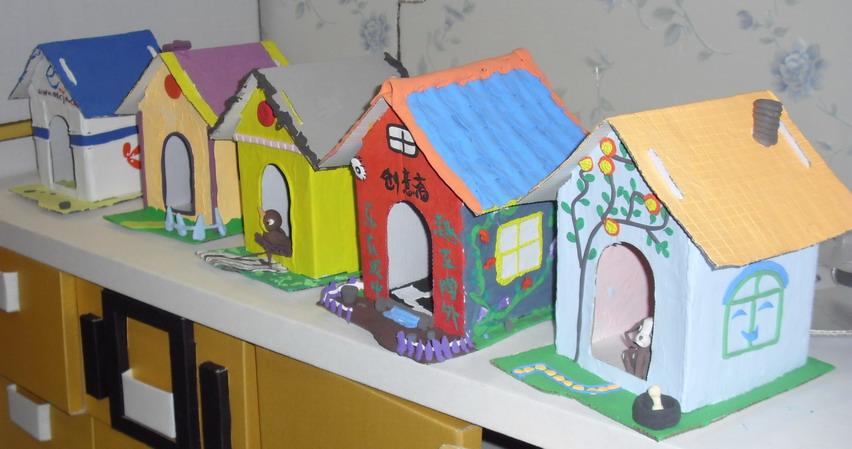 房子手工纸立体造型; 创意纸玩:手绘大房子
