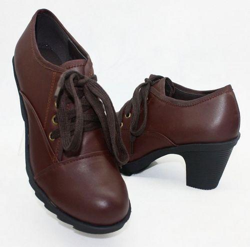 集采七:2012新 不累脚 哈森专柜正品 牛皮 粗跟防水台系带 低帮女单鞋图片