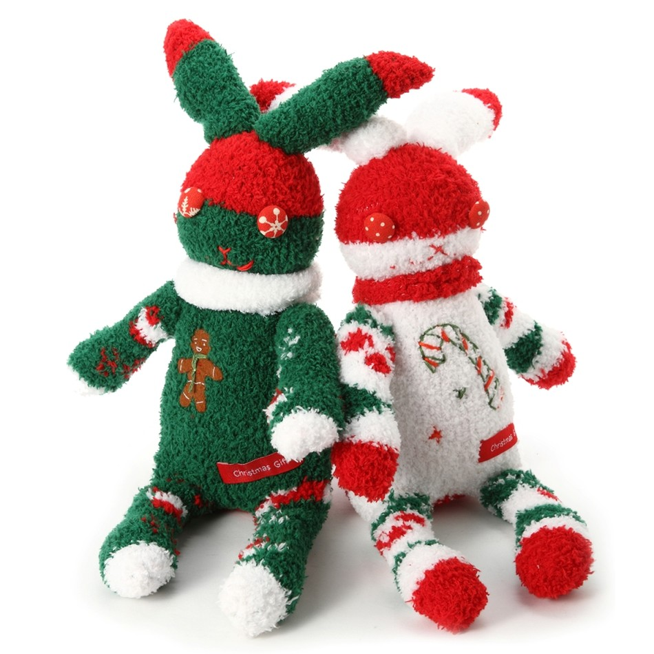 圣诞毛绒袜子兔——纯手工缝制袜子玩偶